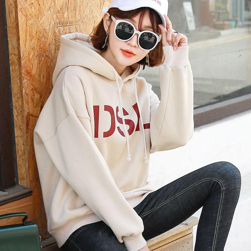 ZZNgJ 2019 Frühjahr neue Top mit Kapuze Mantel Pullover weiblichen Studenten koreanischen Größe Pullover FcIAi Stil lose Spitze Mantel Frauen groß