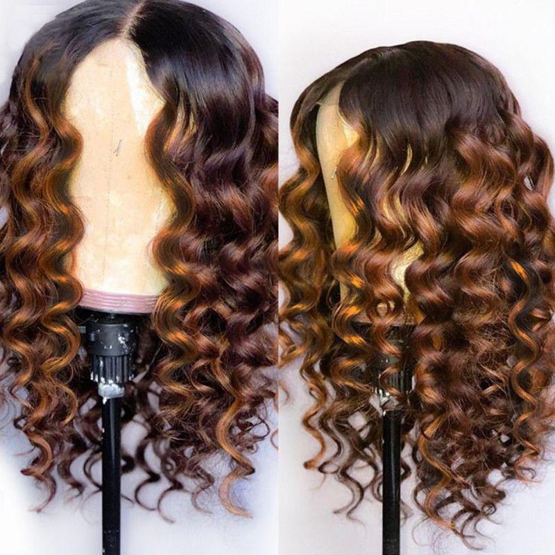 Volle Spitze Menschenhaar-Perücken Ombre zwei Ton-1B 30 lose Wellenförmige brasilianische Jungfrau-Haar 150 Dichte Natürlicher Haarstrich Glueless Gebleichte Knoten