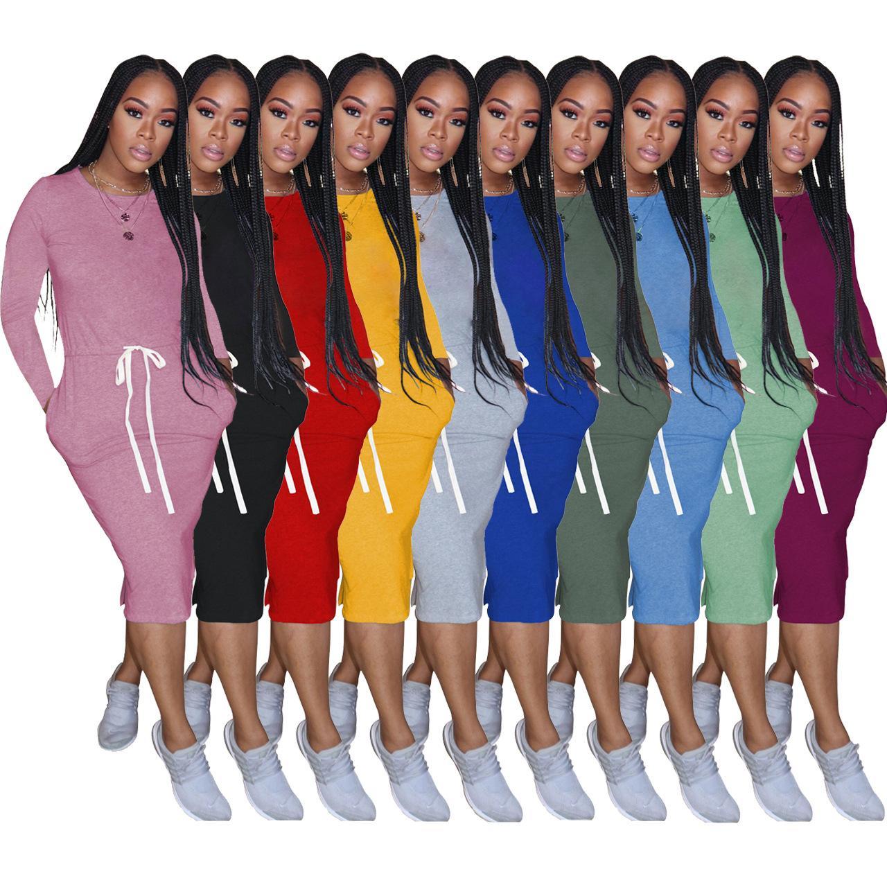 les femmes tombent robe de mode 2020 robe T-shirt taille élastique de base couleur unie à manches longues couleur unie mi-longues robes décontractées taille plus
