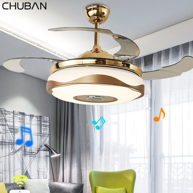 Высокое качество Потолочный вентилятор Свет 3 Цвет водить вентилятора лампа Изменение Свет Современный невидимый потолок дистанционного управления Lamp 72W