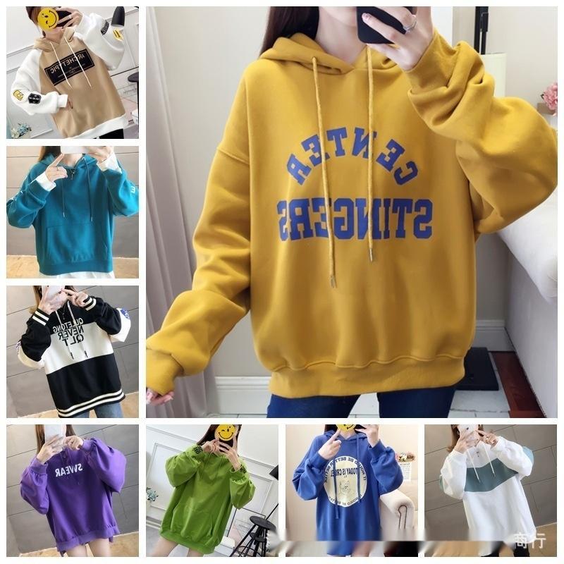 ziExn 2020 nouvelle de l'automne de style coréen et un pull d'hiver femmes manteau à capuchon sweatersweater grande taille manteau lâche femmes occasionnels PZfaR