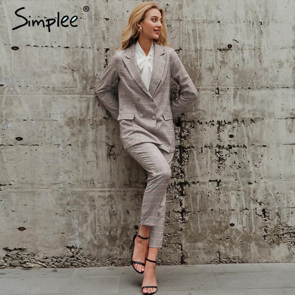 signore Simplee ufficio plaid giacca vestito doppio petto tasche dei pantaloni giacca sportiva femminile serie donne eleganti Streetwear giacca impostati 200924