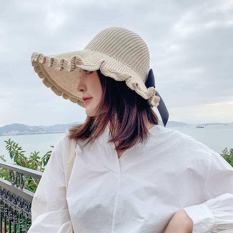 dwjVl Yaz yeni kadın güneş seyahat katlanabilir güneş büyük saçaklı tüm eşleşiyor saman boş üst hasır şapka boş şapka ins