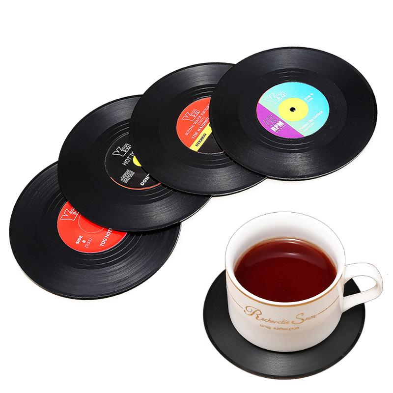 2/4/6* Sublimation Coaster Drinks Table Cup Mat Home Decor CD Record Spinning Mats Table Coasters Decoration Kitchen Tools
