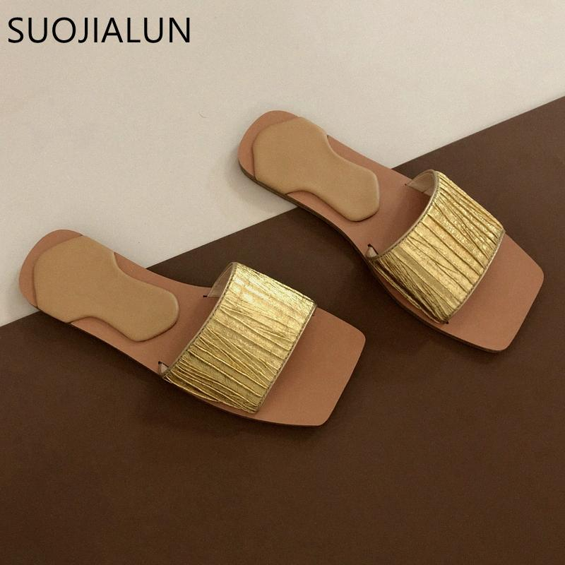 SUOJIALUN 2020 donne di disegno Slipper Moda d'oro diapositive Pieghe Beach Outdoor Infradito piano casuale Open Toe sandalo X0Mv #