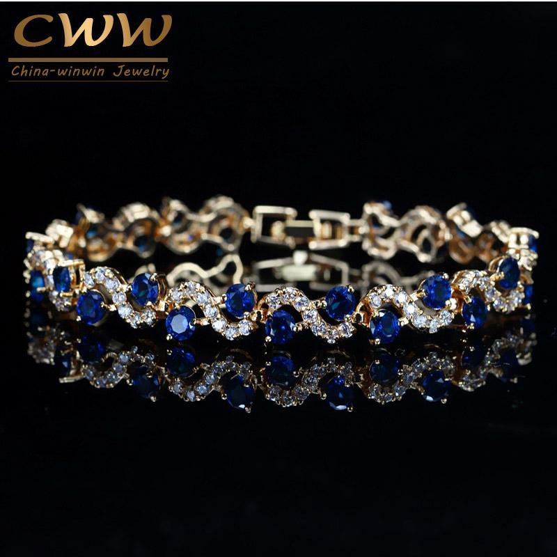 Link, catena CWWZICRUCCONS Design Trendy Gold Color Bianco Cubic Zirconia Pietra e Bracciale in cristallo blu scuro per le donne Gioielli Regalo CB193