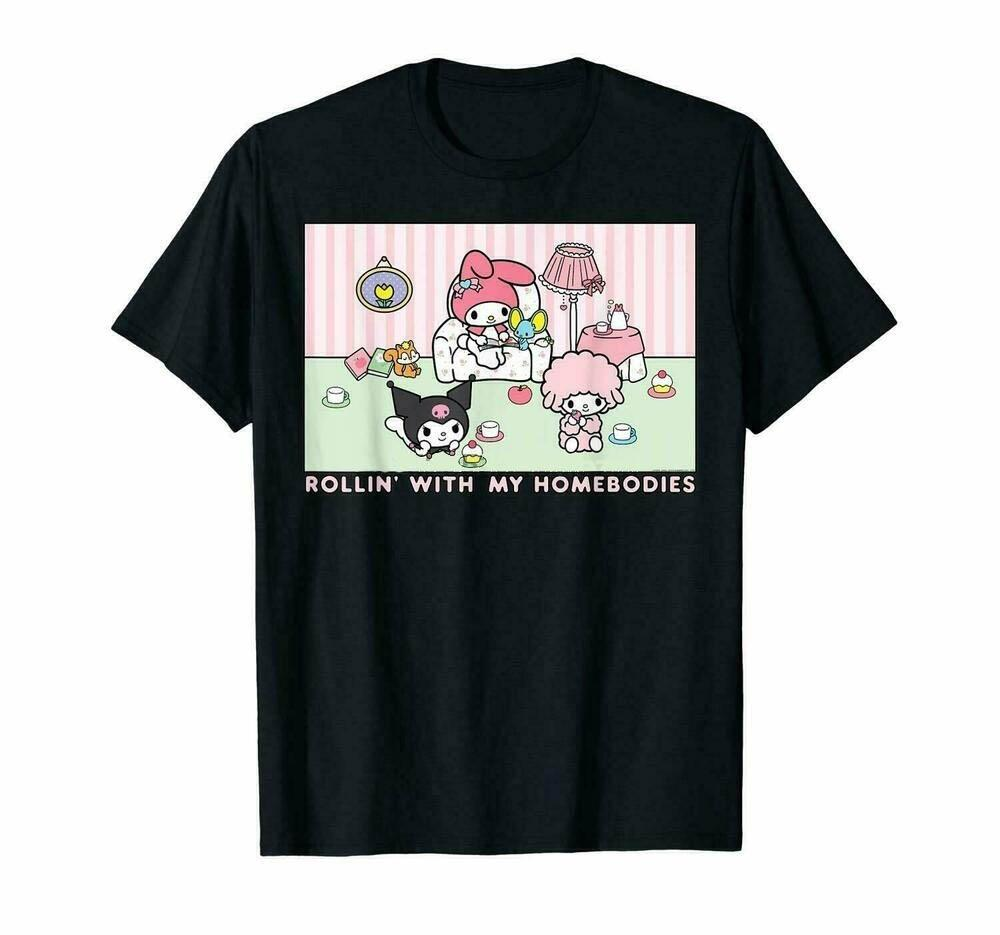 My Melody e Kuromi Rollin com meu Homebodies T-shirt do presente Men Vintage Tee homens algodão camiseta verão tamanho moda tshirt euro