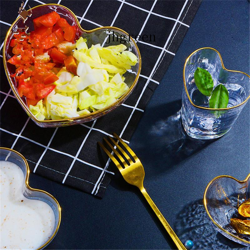 Summer Dessert Cold Drink Bowl Unleaded Crystal Glass Bowl Dessert Station Food Containers Heart Shaped Cups