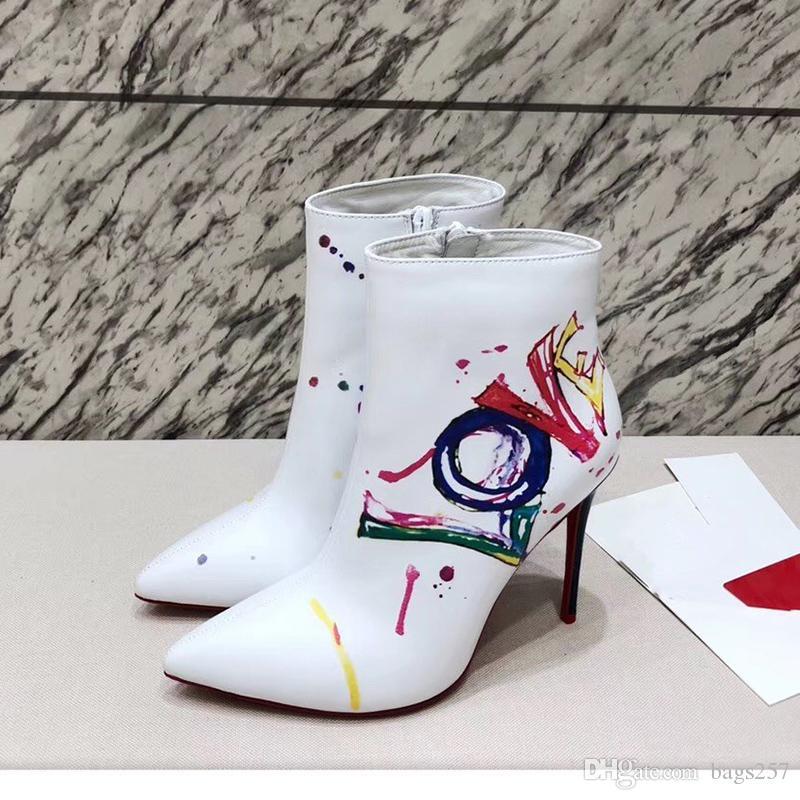 Bottes noires et de la cheville pour les femmes Rouge Pointy Autum Talons d'hiver Rivets extrême à talons hauts bottillons Mesdames cloutés Chaussures Taille 42