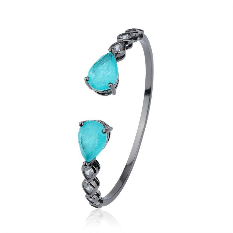 Sonny chanceux Brésil Paraiba / Morganite Fusion Bracelet Pierre Ouvert Bangle Fusion Pulseira accessoires Pulsera Semijoyas luxe Bijoux