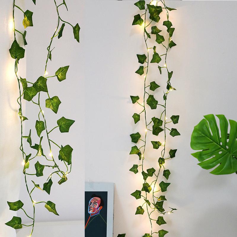 홈 장식 웨딩 장식 정원 가짜 열대 잎을위한 2M 인공 식물 LED 스트링 빛 기는 녹색 잎 아이비 덩굴