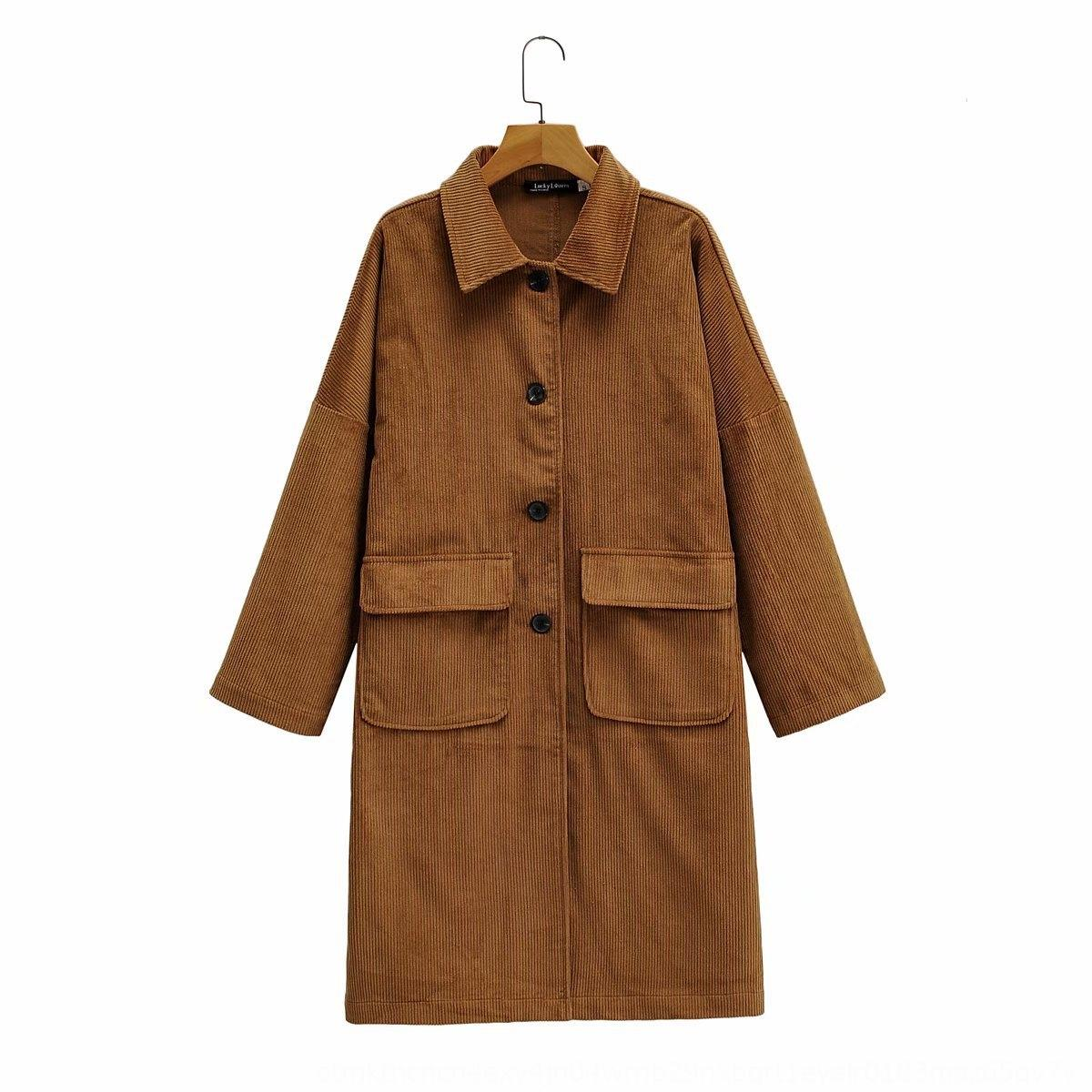 87LB-808 women's clothing 2020 Autumn and Winter new casual double-pocket tooling type core flannel Coat coatlong coat b61K1