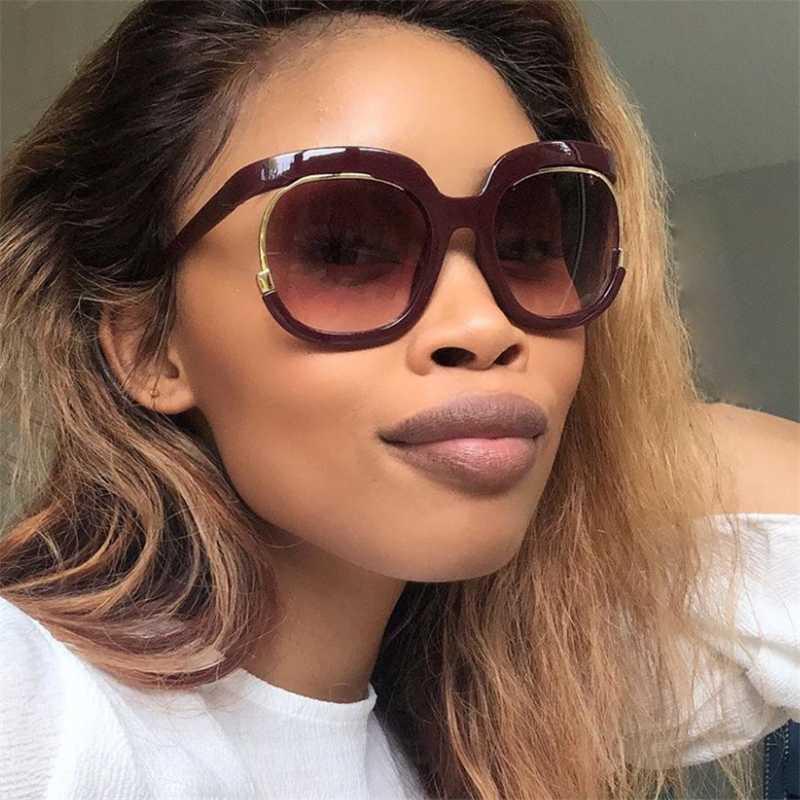 Роскошь 2020 Винтажные круглые очки Уникальные солнцезащитные очки вино красная рамка солнцезащитные очки женщины негабариты для мужчин Градиентные женщины UV400 TQXIG