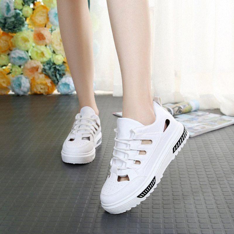Kadın Beyaz Casual Deri Platformu Sneakers 2019 Yaz Nefes Kadın Beyaz Sneakers Kadın Yaz Ayakkabı Sneaker RtYB # Ayakkabı