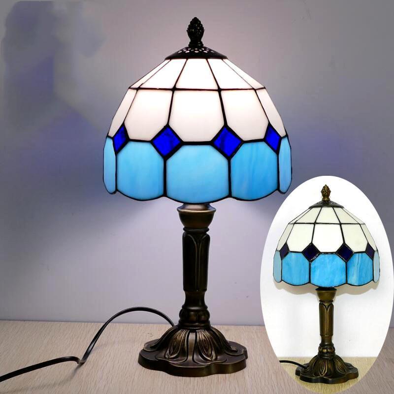 مكتب البحر الأبيض المتوسط نمط مطعم مقهى كافيه LED خمر مصباح السرير ملون الجدول زجاج مصابيح منضدة ضوء غرفة النوم مصباح (لمبات NO)