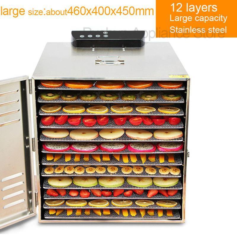 12 Tabletts Dörr Pet Snacks Dehydration Trockner Frucht-Gemüse-Fleisch-trocknende Maschine Edelstahl 220v 110v EU US