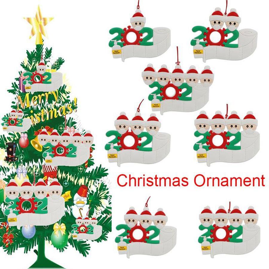 ПВХ 2020 Рождественский орнамент персонализированный Мультфильм Санта-Клауса с маской Family 2 3 4 5 Рождественская елка Висячие подвеска DDA601
