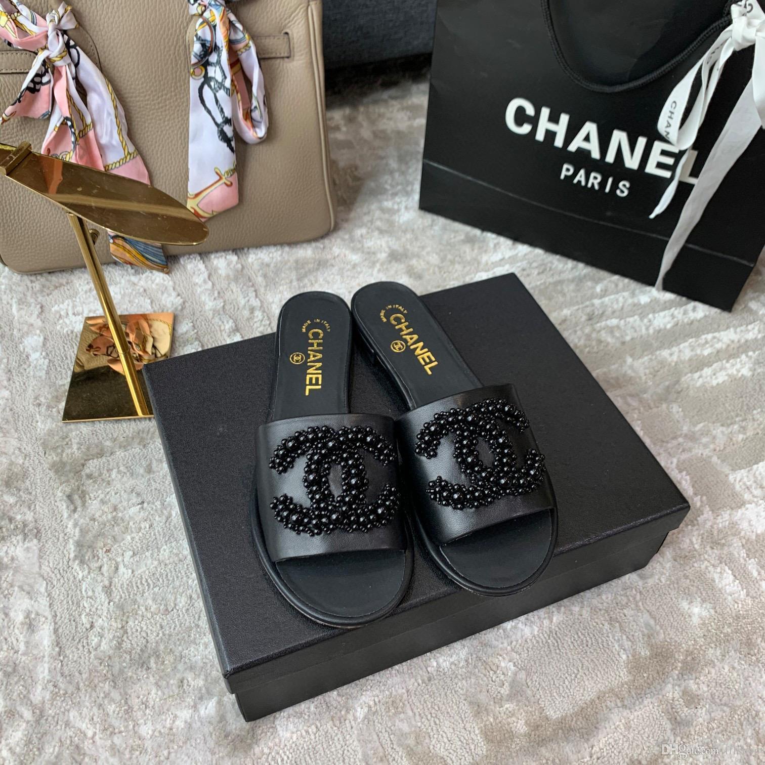 Para mujer de diseño zapatillas decoración de la perla negro de lujo del cuero genuino plana zapatillas de alta calidad con la caja tamaño 35-40