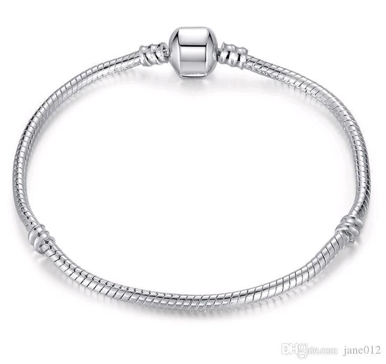 Cgjxs 6 -9 polegadas Banhados de Prata Cobra 3 milímetros Cadeia Fit Europeu encanto Beads Bangle Pulseiras com logotipo Moda DIY jóias