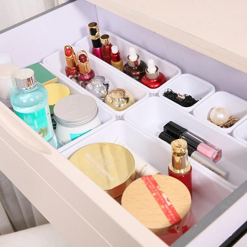 Jewelry Box cassetto contenitore fare lo stile dell'organizzatore di immagazzinaggio di sicurezza scrivania di plastica 8 divisore regolabile bagagli Fino Sundrie Cosmetic Pz NiwjV