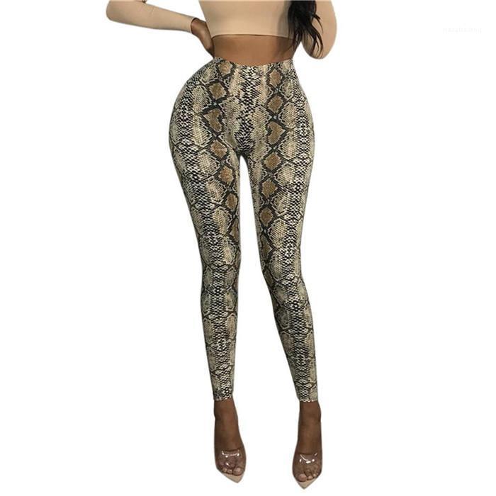 Mujeres Nuevos informal diseño de impresión pantalones Slim Fit estampado de serpiente de cintura alta Famale lápiz de los pantalones