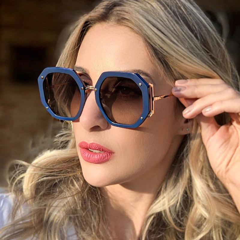 Sun Women Rebites High UV400 Tons Azul Quadrado Azul Óculos Óculos Oculos Óculos Trendy Óculos Femininos Qualidade HGKHH