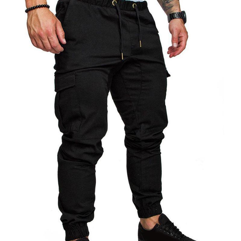 Moda larga de los hombres Pantalones rectos ocasionales de la pierna jogging pantalón de chándal del basculador de Carga lápiz Fabala se divierte los pantalones