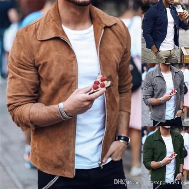 سترات ذبابة يقصر رجل ذكر عارضة الربيع والخريف الملابس مصمم رجالي الصلبة الستر الأزياء سحاب