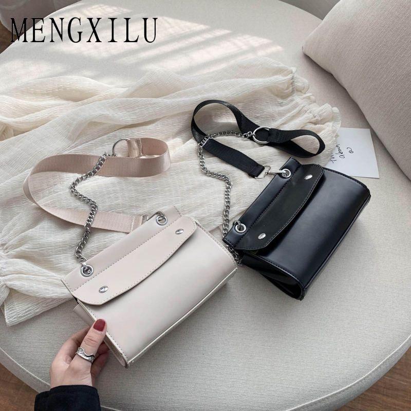 Diseño simple de la nueva manera pequeño cuadrado bolsos de las mujeres bolsos 2020 de alta calidad de la PU cuero cadena de los bolsos de hombro teléfono móvil