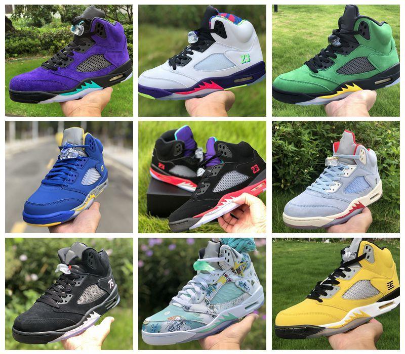 Горячий Новый Jumpman 5 5s баскетбол обувь Alternate Бел винограда топ 3 Тревиса SCOTTS 1 1s среднего света дыма серые мужские женские тренеры кроссовки