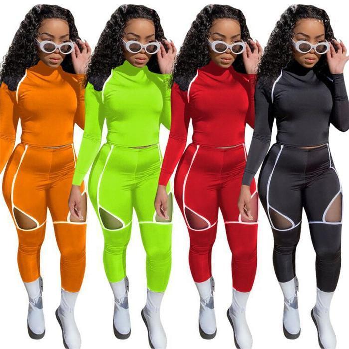 Eşofmanlar Katı Renk Yoga Jogger Spor Giyim Uzun Kollu tişörtleri ve Kalem Pantolon Nefes Kadınlar 2 Parça Setler İnce Bayan Hollow