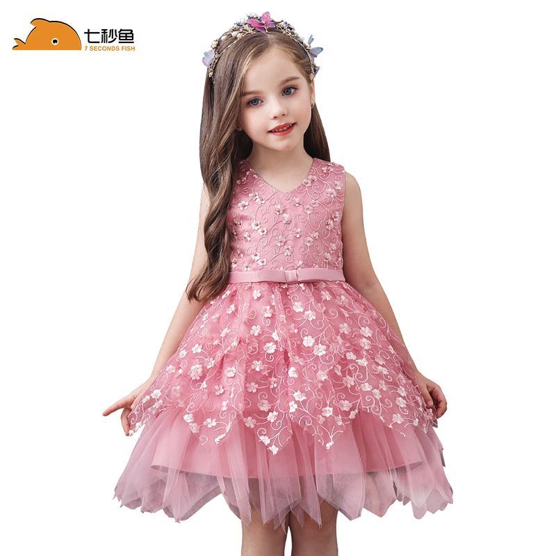 vestito da partito ragazze vestito irregolare ricamato 24M gonfio principessa in rilievo prestazioni arco per bambini 2 3 5 7 9 10anni