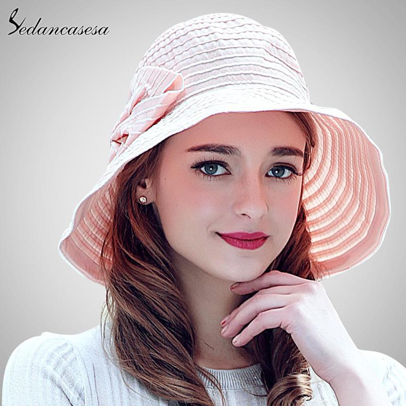 Wide Brim Hats Sedancasesa 2021 Fashion Bow Beach Female Summer Sun Hat Handmade Bowknot Women Sun-shading Cap For Girls Ladies SW105039