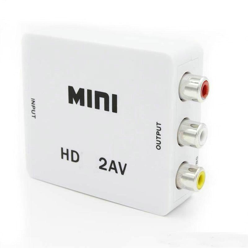 Mini HD 1080P 2AV Video Converter Box HD to RCA AV/CVSB L/R Video Support NTSC PAL Output HD TO AV Adapter OM-CD8