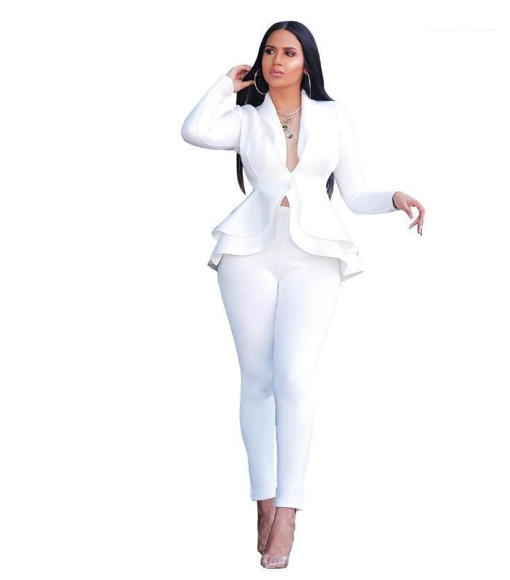 Elegante signore di moda 2PCS Abbigliamento Donna Ruffle stile di OL Uniforme molla casuale del vestito di marca con scollo a V matita ansima gli insiemi