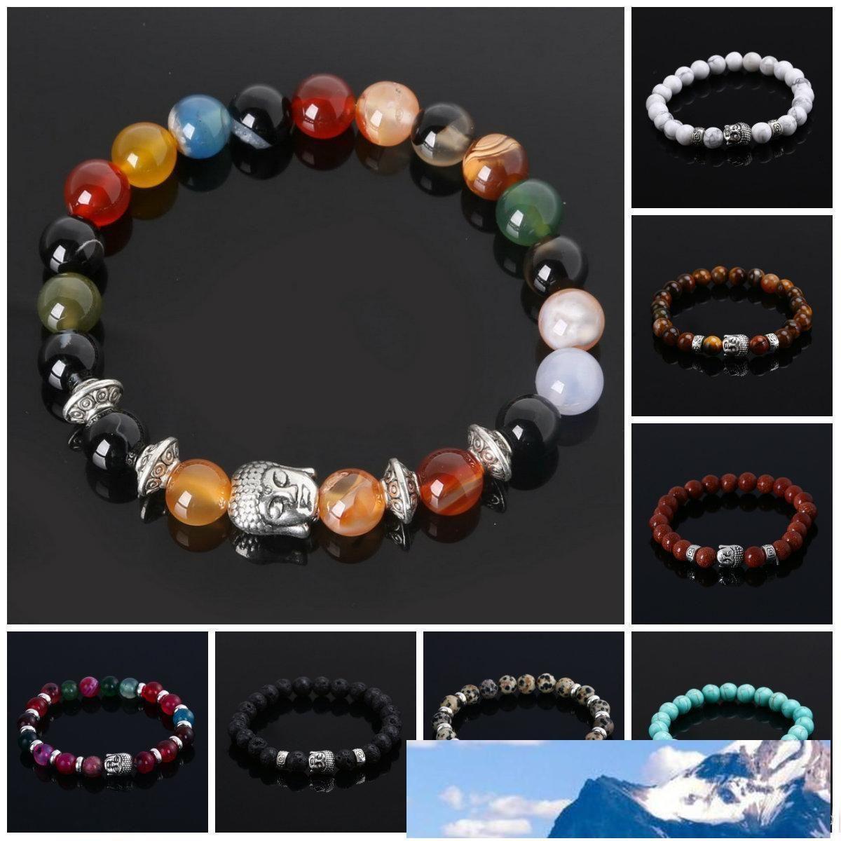 Mens Bracciali Gioielli di lusso perline naturali Bella dei braccialetti economici rilievo Buddha per gli uomini donne Buddha Lava Chakra Bracciale