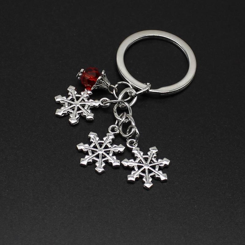 20PCS / LOT مفتاح حلقة سلسلة المفاتيح مجوهرات فضة مطلية بالذهب لاكي ندفة الثلج سحر قلادة من الفضة هدية