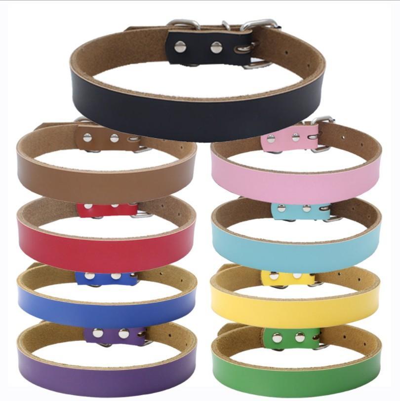 Personalización libre Llanura de piel de perro de color sólido collares de perro de perrito del gato collar Pequeña Mediana Grande Extra Grande