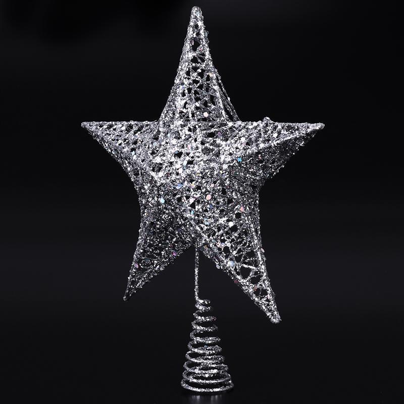 Árbol de Navidad de la estrella la punta del árbol de Navidad Topper Shimmery estrella de Navidad 5 copa de árbol Decoración Point