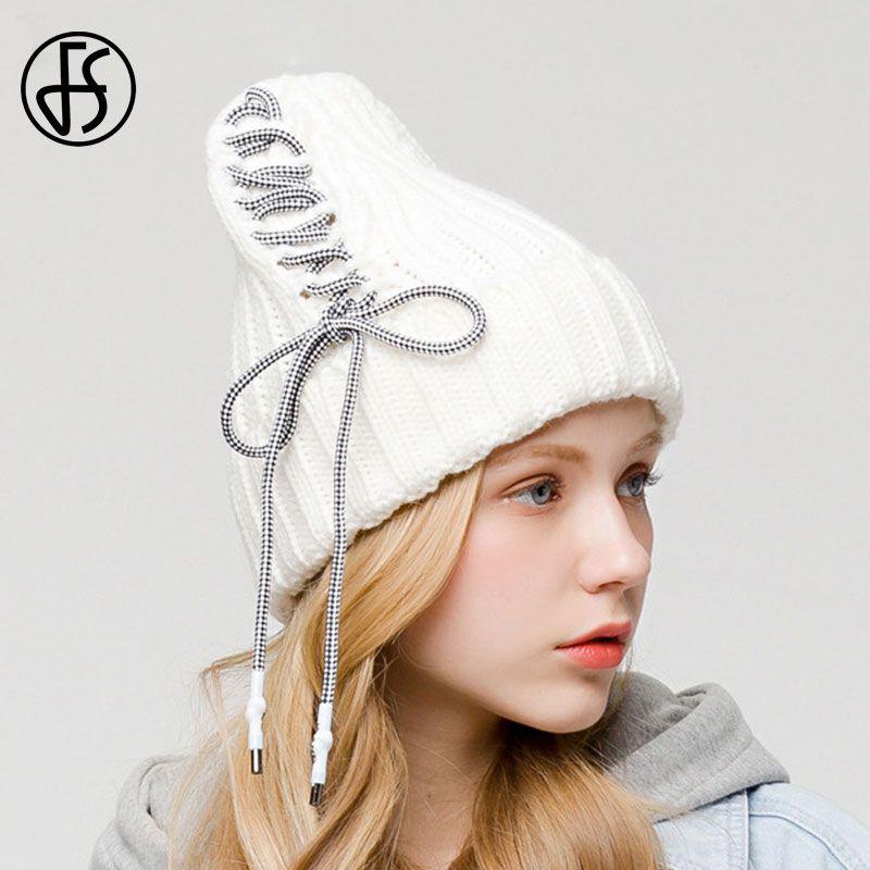 FS Hiver chaud Bonnet pour les femmes d'automne Bonneterie Bonnet skullies Chapeaux Mesdames Cap Gris Femme Bonnet Blanc Casual Chapeaux Chapeau