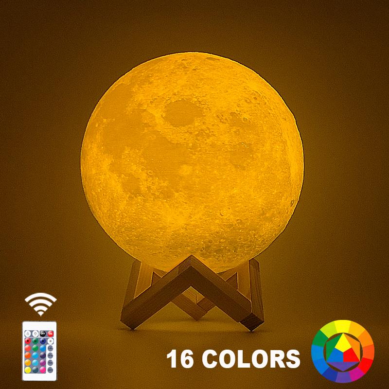 3D는 달 램프 20cm 18cm 15cm 다채로운 변경 터치 USB 주도 야간 조명 홈 인테리어 크리 에이 티브 선물을 인쇄 수송선