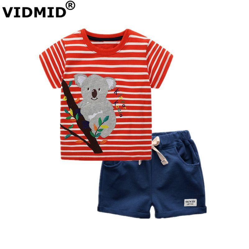 Roupa Sets Meninos crianças T-shirt + short das calças de 2 peças de roupa roupas roupas Meninos conjuntos infantil de Vidmid verão Crianças