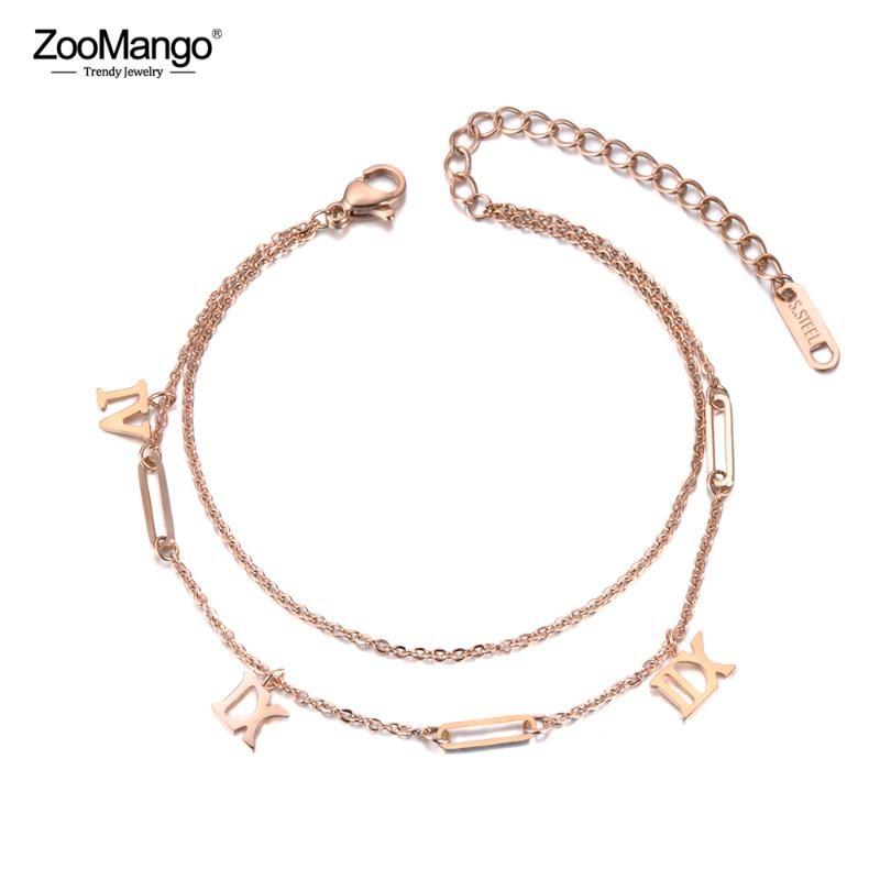 Браслеты очарования Zoomango двойные слои винтажные римские цифровые браслеты ювелирные изделия розовые золотые титановые стальные цепные цепи женские ZB19050