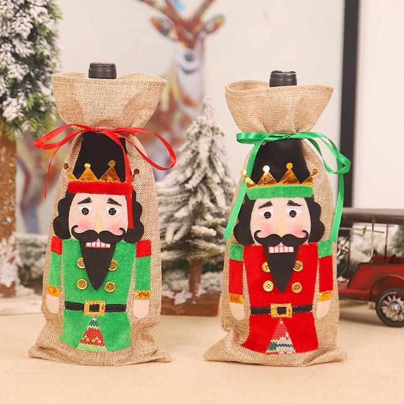 Bottiglia di vino di Natale copertina coulisse Chiusura Schiaccianoci Soldato di natale decorazioni domestiche