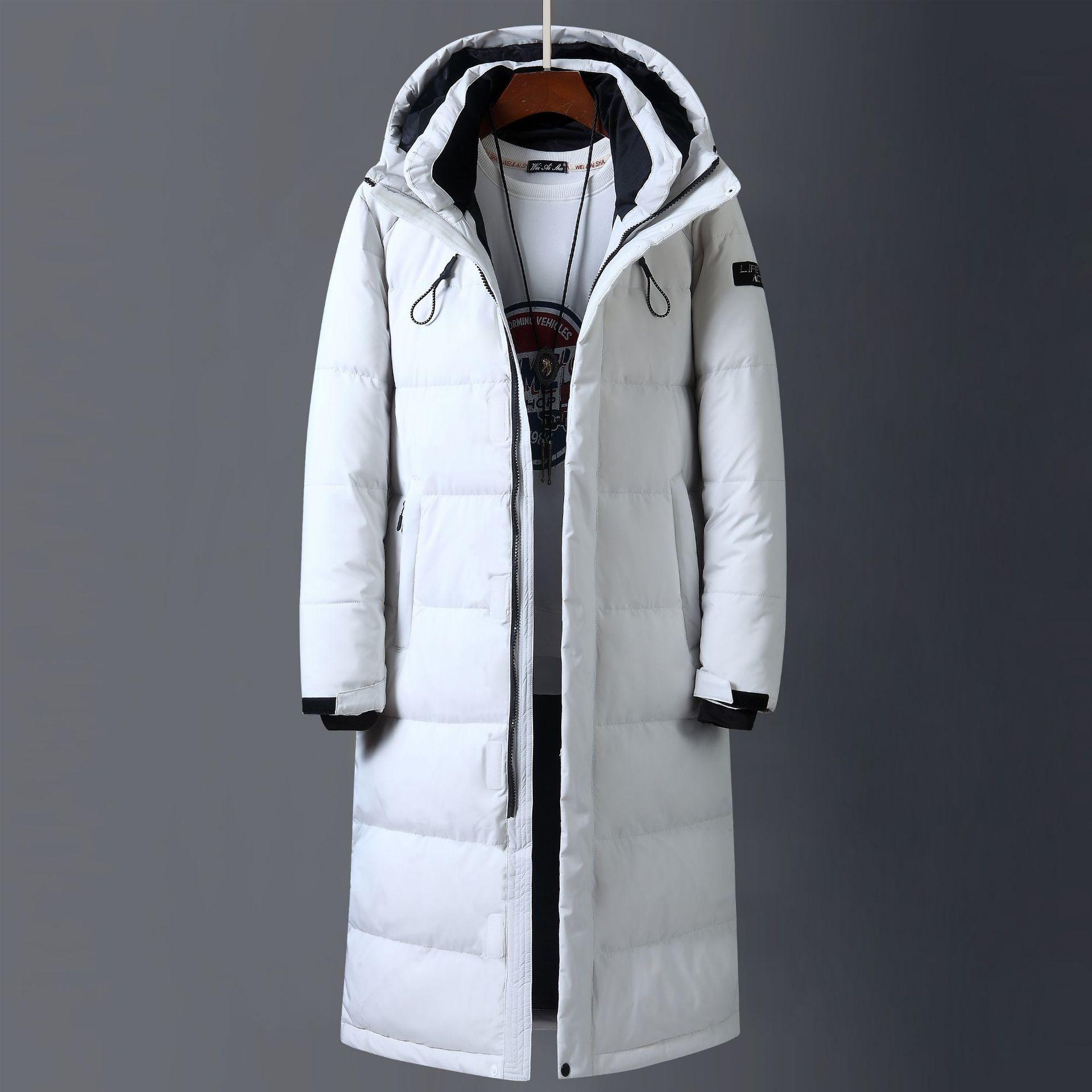 2019 nuovi uomini Inverno Down Jacket di alta qualità X-Long spessore caldo cappotto di modo Trens Rosso Giallo Nero Youth Parkas 3XL T200907
