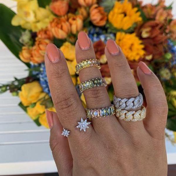 Кластерные кольца CZ Star Ring для девушки Женщины Открыть Регулированный размер Модные Модные Ювелирные Изделия