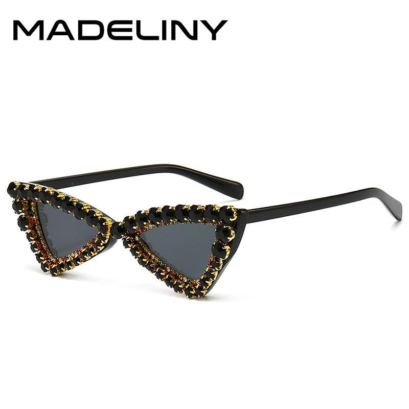 Feminino moda óculos madeliny gato vintage personalidade diamante uv400 sol mulheres olho óculos ma986 triângulo decoração pequena fjbdq