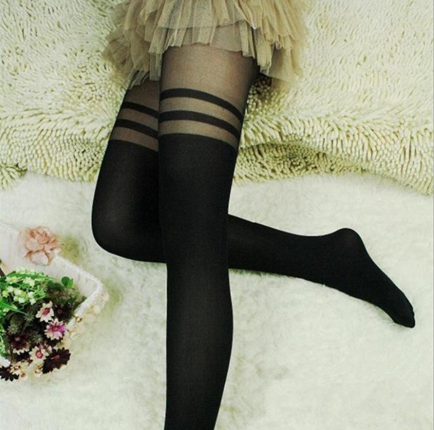 Nouvelle couture t double tube de bas horizontal New collants faux coutures cuisse haute faux tube à double Pantyhose stockin horizontal