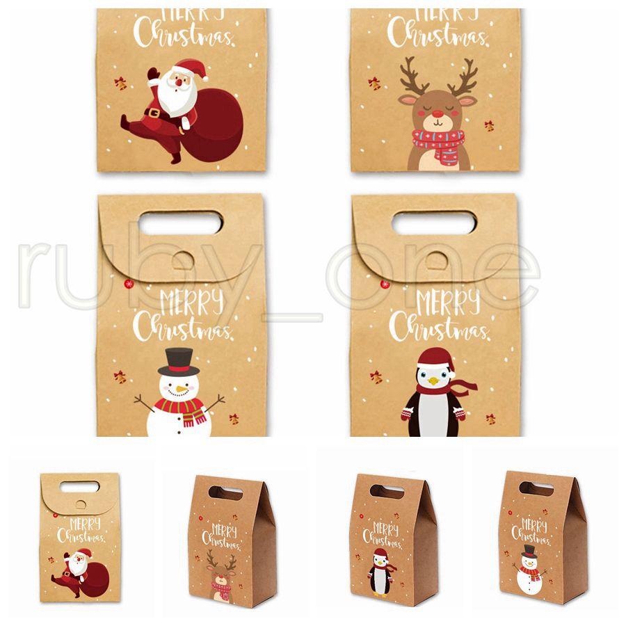 Mele regalo di Natale borse vintage carta kraft Candy Caso Partito regalo di Natale Santa Snowman Hand Bag pacchetto spostato Tatuaggi RRA3551