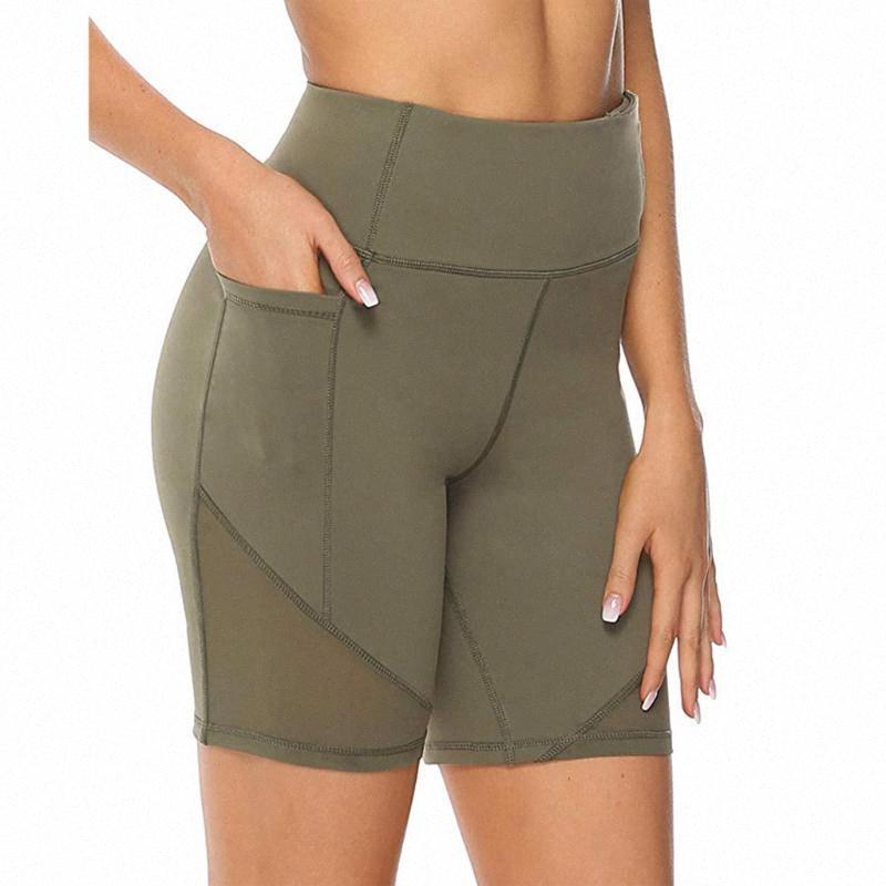 Frauen Bodycon Radfahren Läuft Sport Yoga Shorts mit Taschen Dame Summer Fest dünnen Sitz mit hohen Taille Gym Fitness Leggings y7XV #